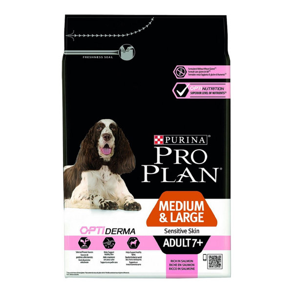 Purina PRO PLAN Medium&Large Adult 7+ Sensitive Skin Сьомга 14кг.