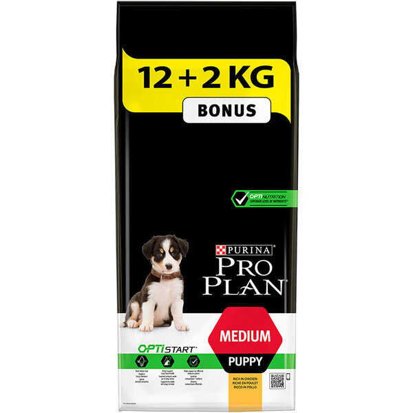Вземи 12кг + 2кг ПОДАРЪК Purina PRO PLAN Medium Puppy с OPTISTART 14 кг